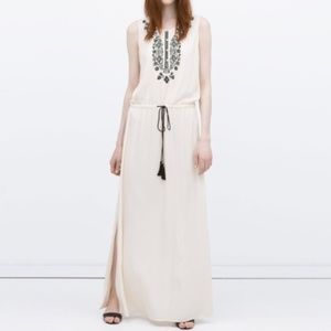 Zara | Black and White Embroidered Maxi Dress